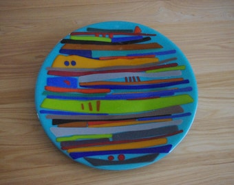 Beautiful colorful fused glass platter