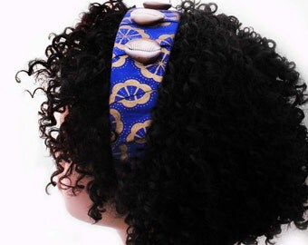 Headband, African Headband, Natural Hair Headband, Hair Accessories, Wide Headband, Afropunk, Femi Blue African Fabric Headband