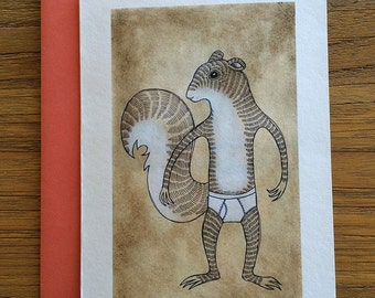 Squirrel Animals in Underpants A6 Greeting Card