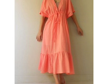 Deep Peach Soft Cotton Loose Summer Kimono Maxi Dress one fit all most S-L (KM2)