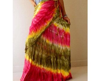 Boho Hippie Summer Chic Long Ruffle Tie Dye Cotton Circle Wrap Skirt S-L (TD 23)