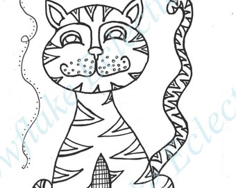 DIY COLORING Page -  Instant PDF Digital Download - Printable Coloring Page - Long Tailed Cat - Adults - Children