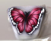 Crimson Red Butterfly Cane, Polymer Clay Flutterby Raw or Unbaked Cane