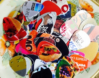 Guitar Picks - recycle Upcycled pick plastic gift cards for your Ukulele Guitar Mandolin -  Grab bag