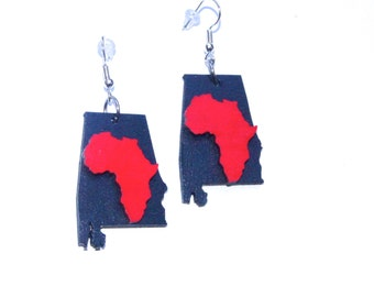 Alabama Earrings African American  Southern Dixie Jewelry Pop Art Red and Black Africa Earrings Triburban