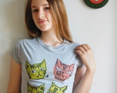 Hand Stamped Mid Century Beatnick Cats T Shirt/Woman