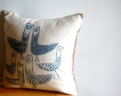 Hand printed Birds Pillow Cover, Birdland,  100%Cotton