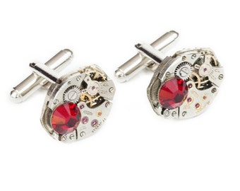 Steampunk Silver Cufflinks with Perfectly Matched Vintage Watch Movements and Sparkling Ruby Red Swarovski Crystals by Velvet Mechanism
