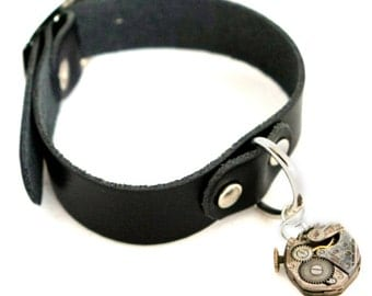 Unisex Steampunk Black Real Leather D-Ring Cuff Bracelet with Two Sided Vintage Watch Movement by Velvet Mechanism