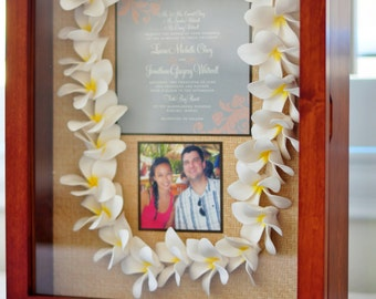 Custom Keepsake Wedding Shadow Box with Plumeria Lei