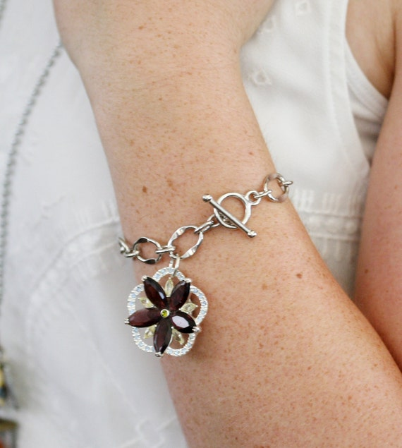 Bracelet christmas present for girlfriend-Made with Vintage Jewelry Pieces, Wedding Jewelry, Bridal Charm Bracelet, Bridal Gift, Shower Gift