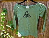 SALE Celtic Triquetra Triskele Tshirt Blue Green Made In XS Only