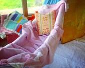 Vintage Mexican pink cream throw bedspread bedding blanket or floor rug southwestern modern diamond