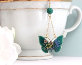 Vintage Butterfly Necklace Turquoise Butterfly Necklace Flower Necklace Butterfly Jewelry Vintage Butterfly Necklace