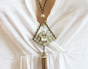 Tassel Necklace Large Rhinestone Necklace Art Deco Pendant Vintage Jewelry Long Necklace