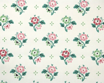 1950's Vintage Wallpaper - Cute Floral Wallpaper Pink and Green Flowers on White