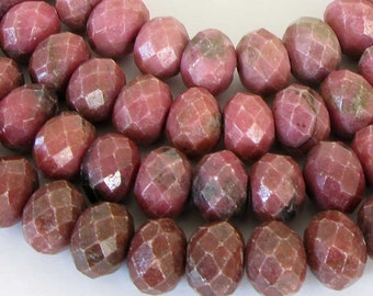 9.5mm Rhodonite Beads, Full Strand 9mm Faceted Rhodonite Beads, Rondelle Rhodonite Beads, Faceted Rondelle, Pink Gemstone Beads, Rho214
