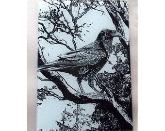 Winter Raven glass cutting board, Raven glass, raven  art, Crow trivet, crow window glass, birdh art, bird glass