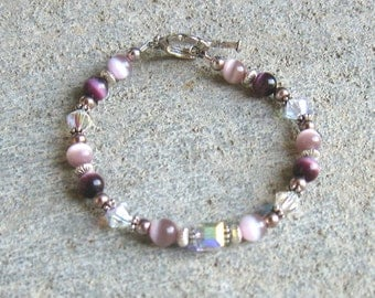 Purple Pink and Crystal Silver Beaded Bracelet