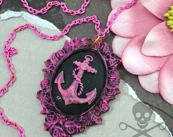 FILIGREE ANCHOR- PINK Anchor Ornate Cameo Necklace