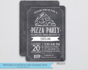 Pizza Party Invitation - DIY - Instant Download & Editable File - Personalize at home with Adobe Reader