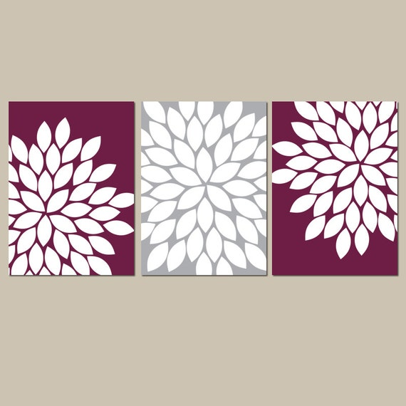 Bedroom Wall Art Grey: Maroon Gray Wall Art Bedroom Kitchen Wall Art CANVAS Or