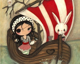 Pirate Print Girl Animal Boat Children Wall Art ---Pirate Ship 11 x 14