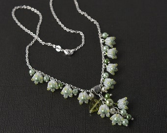Lily of the valley beadwoven necklace