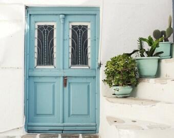 "Blue door print - pastel aqua blue succulents wall art - Greece travel photography - fine art print - mediterranean style ""Three Blue Pots"""