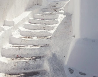 White stairway photograph, Greece photography, white decor, minimal photography,  large wall art 'Curving Stairs'