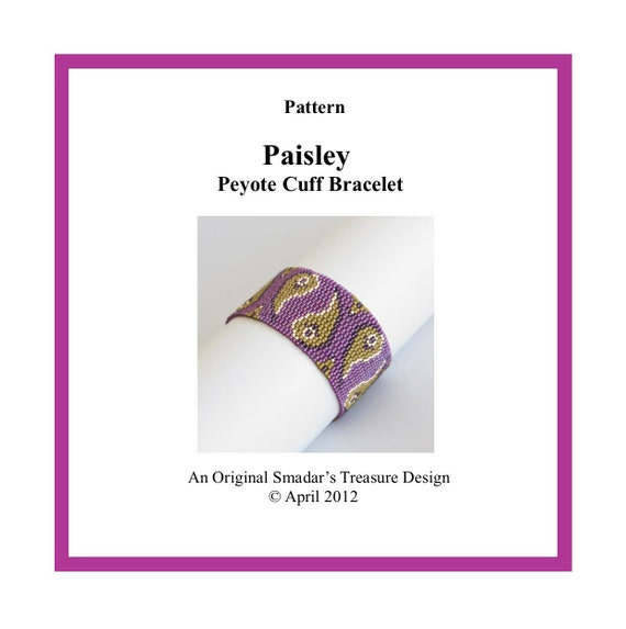 Beading Pattern, Paisley Cuff Bracelet, PDF File Instant Download. Peyote Bracelet Pattern with Delica Cylinder Beads