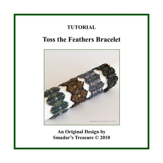 Beading Tutorial Pattern, Feathers Beaded Bracelet Instant Download PDF File Beadweaving Instructions with Bugle and Seed Beads. Fern Design