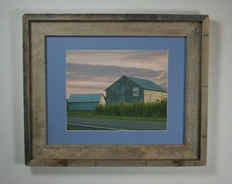 Country  print in recycled 11x14 wood frame great rustic wall accent