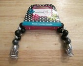 CLEARANCE! Everything Mary Plastic Beaded Handle for purse making - black and silver