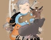 Save Animals, Animalist Illustration, Hero Art, Wall art. The last man of Fukushima