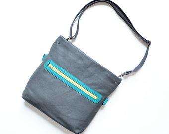 Small Crossbody Bag / Womens Leather Shoulder Bag / Crossbody Leather Purse / Leather Satchel - The Abby Satchel in Granite Grey