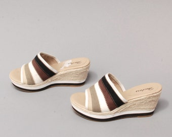 size 8 PLATFORM natural canvas 70s 80s 90s ESPADRILLE woven WEDGE sandals heels