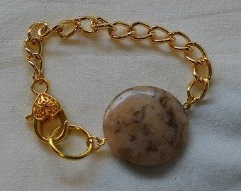 Feldspar and Gold Chain Bracelet