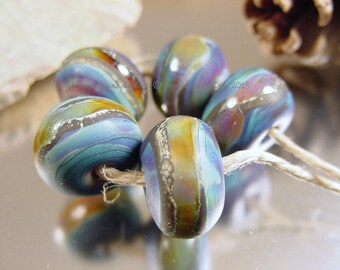 Handmade lampwork glass beads, Artisan glass beads, Blue beads, green beads, purple beads, matte finish beads, SRA lampwork.