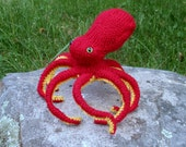 Octopus Stuffed Animal, Plush Octopus Fiber Art Sculpture, Handknit Red