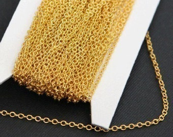 Sample Chain  1ft Gold plated Brass round cable chain 2x2.5mm, gold chain,  gold plated brass chain