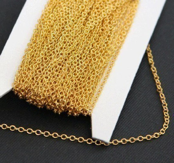 64ft of Gold plated Brass round cable chain 2x2.5mm