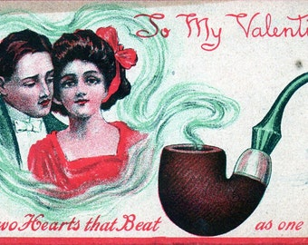VINTAGE  POSTCARD, To My Valentine..two hearts beat as one... sourced by junqueTrunque