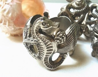 Vintage Godinger Silver Sea Life Napkin Rings Set of Four