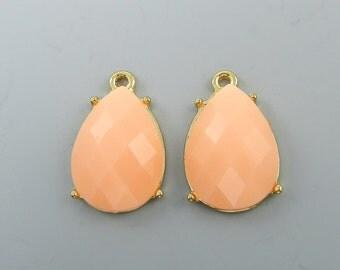 Peach Pink Teardrop Earring Dangle Findings Gold Bezel Pendants Charms Peaches and Cream Drop Synthetic Stone Bezel Earring Findings |O2-9|2