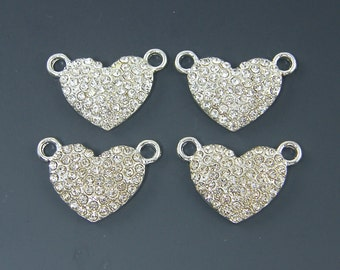 Rhinestone Heart Pendant Bright Silver Clear Crystal Pave Jewelry Component  S18-16 4