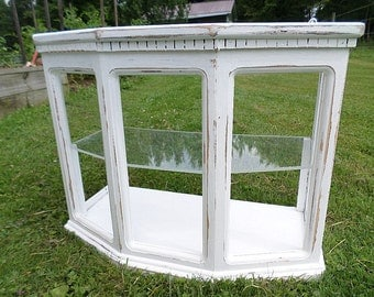 Shabby Chic Wood Display Case,Wall or Table Top,Cottage,Beach,Vintage