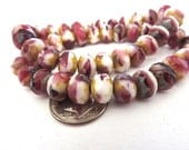 SALE 25 Fuchsia White Picasso Czech Fire Polished Rondelle Beads 6mm x 8mm