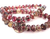 SALE 25 Tourmaline Color Picasso Czech Fire Polished Rondelle Beads 6mm x 8mm