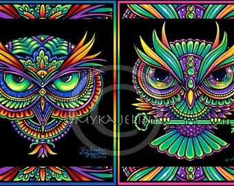 Owl Psychedelic Rainbow Trippy Hippie 8x10 Signed Print Set